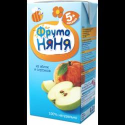 Сок, Фрутоняня 200 мл яблоко персик неосветленный